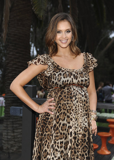 Jessica Alba in a leopard dress.