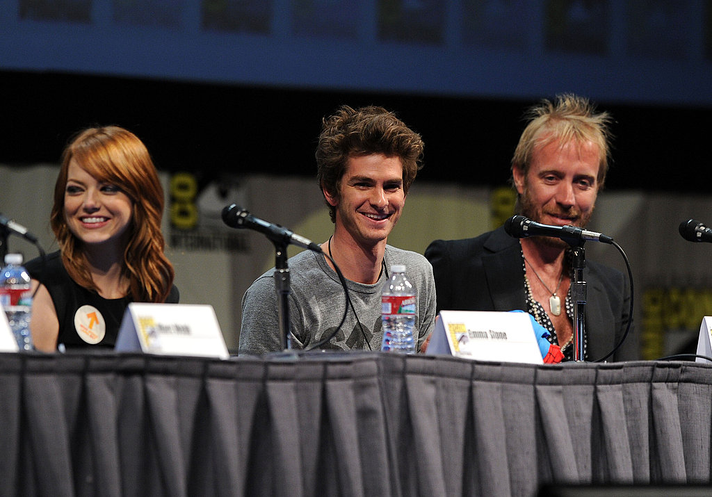 Emma Stone, Andrew Garfield, and Rhys Ifans chatted with the audience in San Diego on Friday.