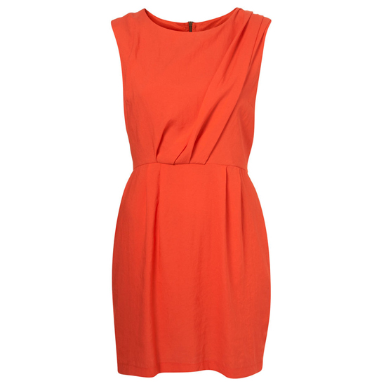 Topshop Bright Red Tuck Shift Dress, $95