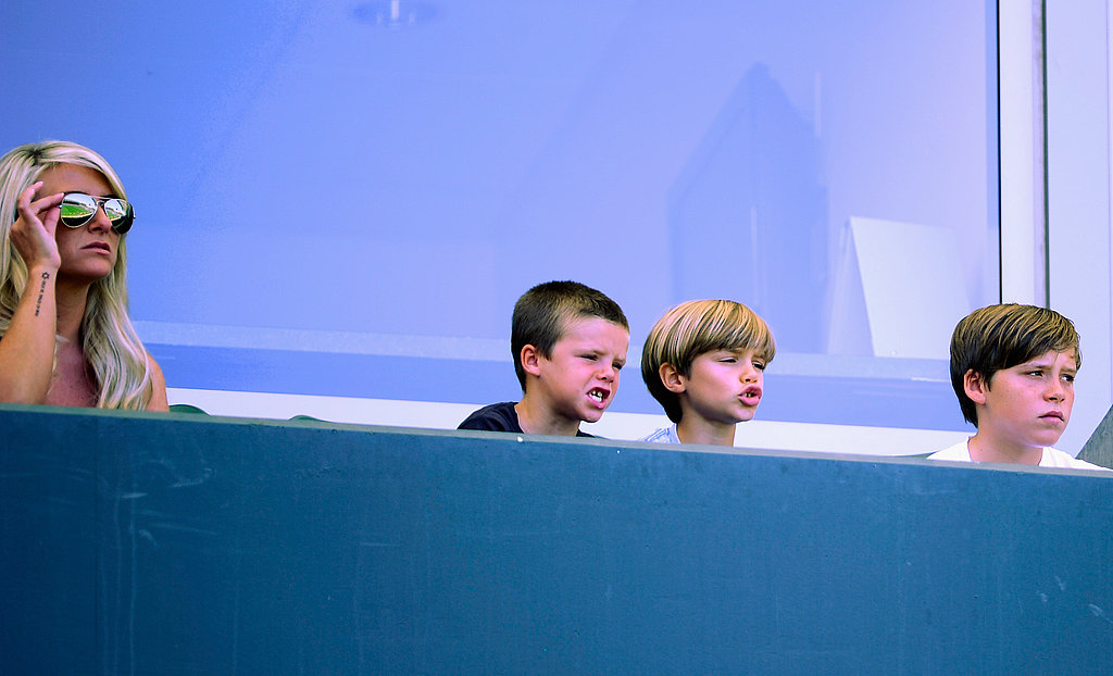 Brooklyn Beckham, Romeo Beckham, and Cruz Beckham watched the game.