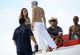 Jennifer Lopez in a white skirt.