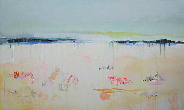 Invest in some original abstract beach landscape artwork like this Long Beach painting by Sally King Benedict.
