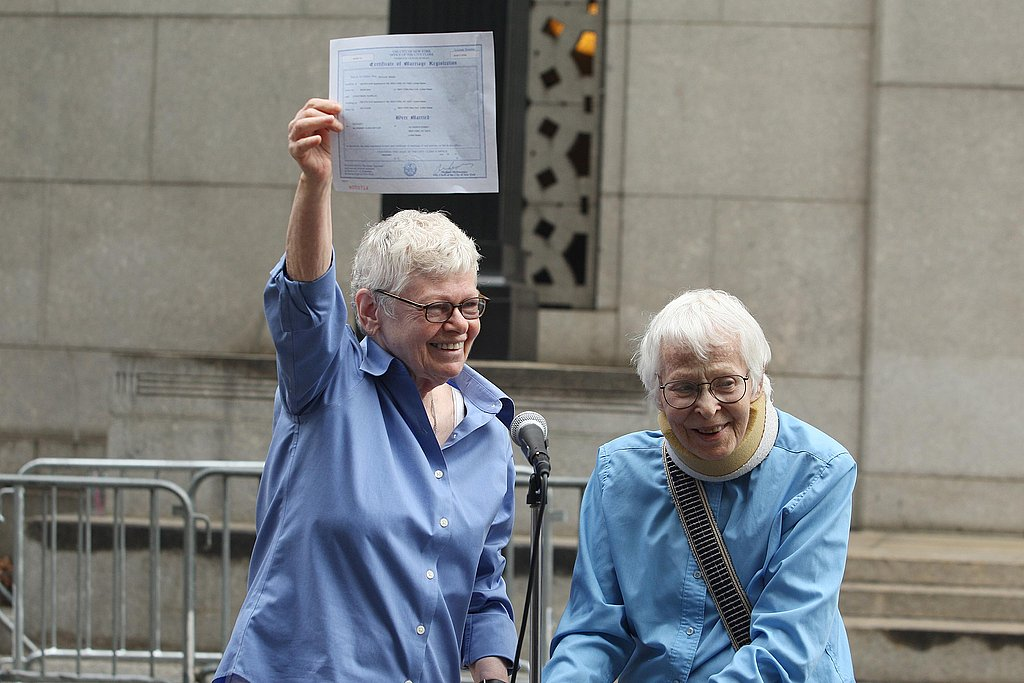 Connie Kopelov, 84, and her wife, Phyllis Siegel, 76, hold up their marriage certificate.