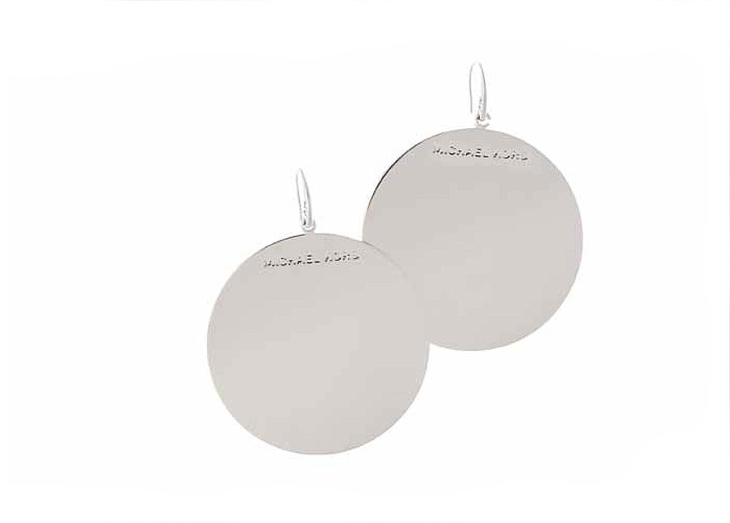 Medium Silvertone Disc Earrings, $75