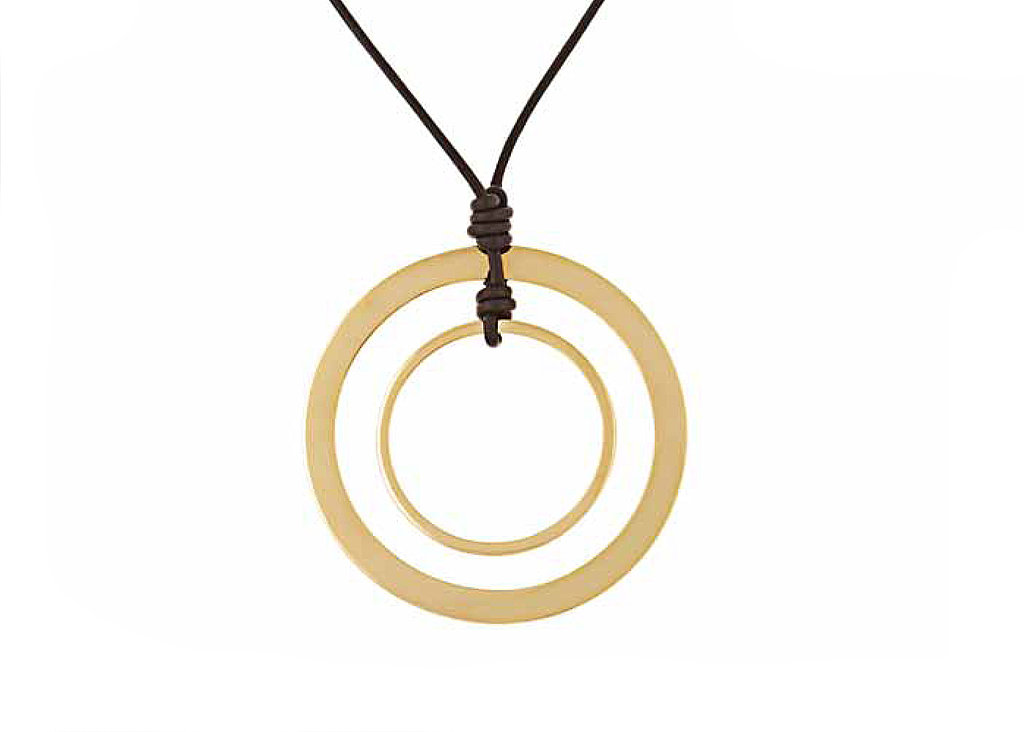 Goldtone Orbital Pendant on Chocolate Leather Cord, $125