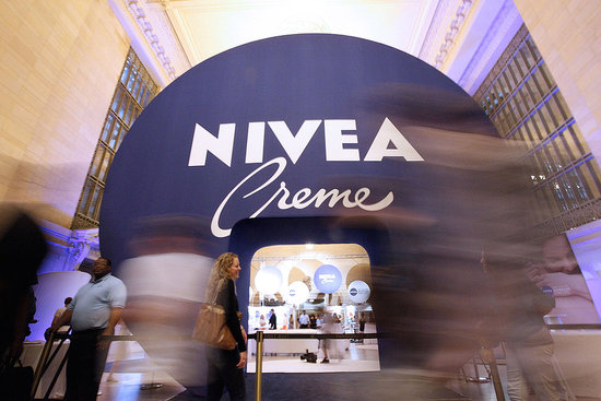 The decor is designed to look like one of Nivea's tins.
