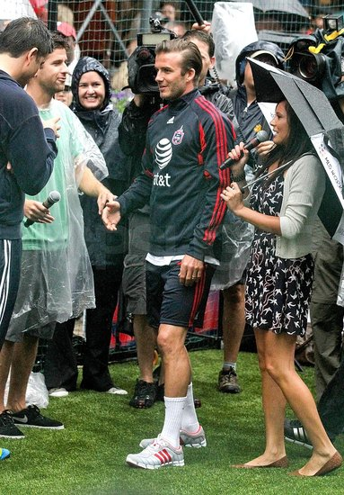 David Beckham prepped to take his kick in front of the cameras.