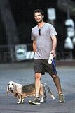 Joshua Jackson with his dog in LA.