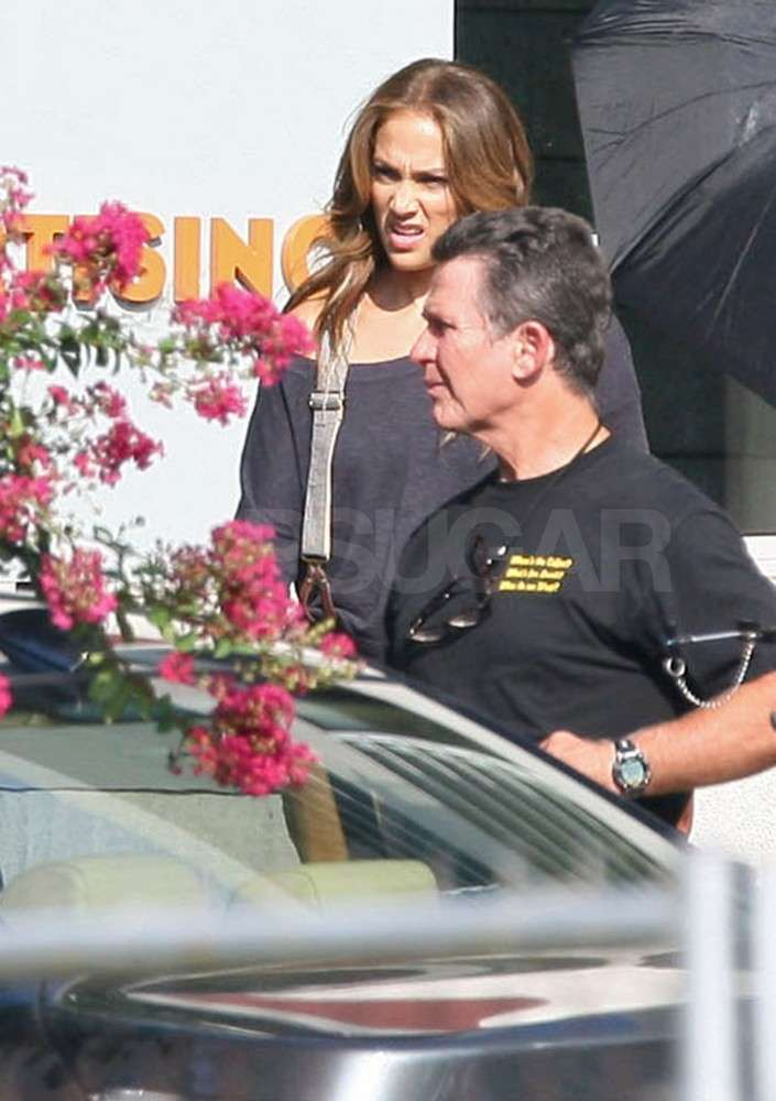 Jennifer Lopez films What to Expect When You're Expecting on the Atlanta set.