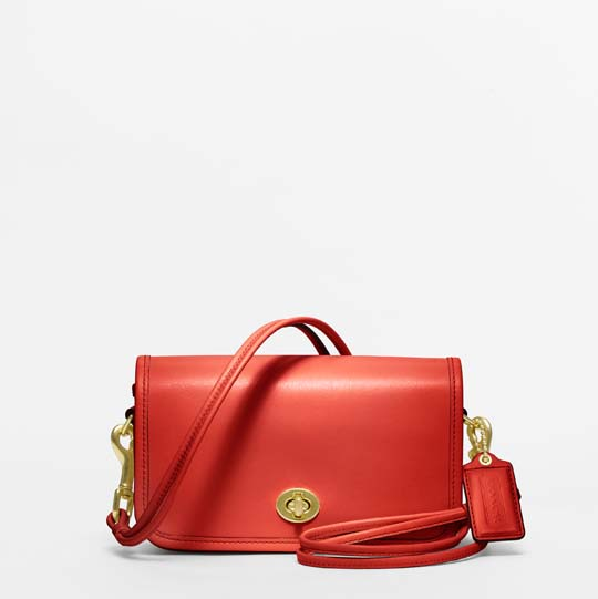 Coach Classic Leather Shoulder Purse in Vermillion, $298