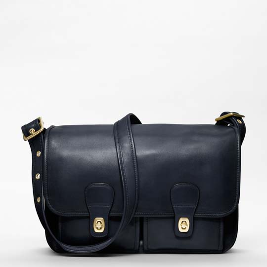 Coach Classic Leather Field Bag in Navy, $498