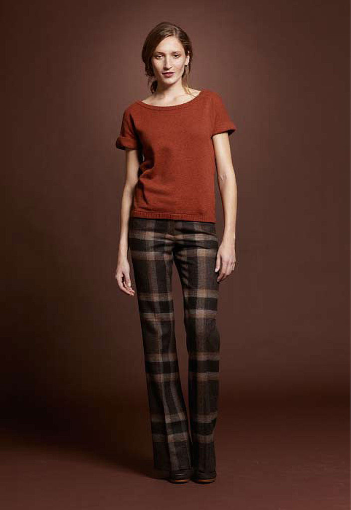 Sweater Tee, $69; Wool Trouser, $149; Canvas High Heel, $129