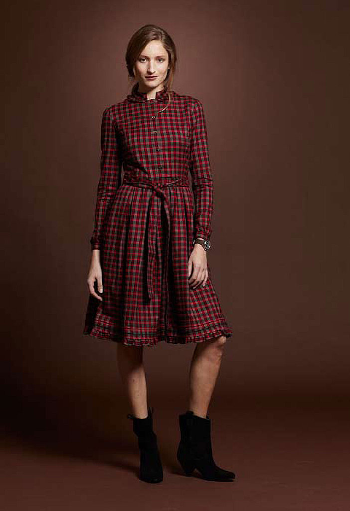 Cotton Silk Flannel Ruffle Dress, $119; Free Street Boot, $199; Vintage Field Watch, $125