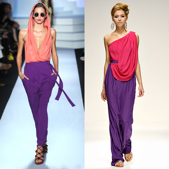 Diane von Furstenberg (left) and Issa (right) both featured artfully-draped purple and pink options for Spring 2011.