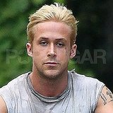Ryan Gosling shows off new blond hair.