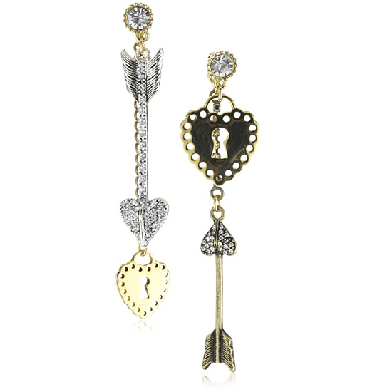 Betsey Johnson Crystal Mismatch Lock Key Earrings, $45