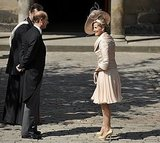 Prince Edward and his wife, Sophie, Countess of Wessex, chat at the wedding of Zara Phillips and Mike Tindall.