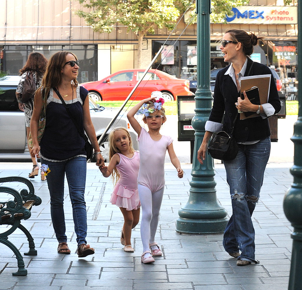 Violet Affleck and Ruby Magiure dropped off at ballet with Jennifer Garner and Jennifer Meyer.