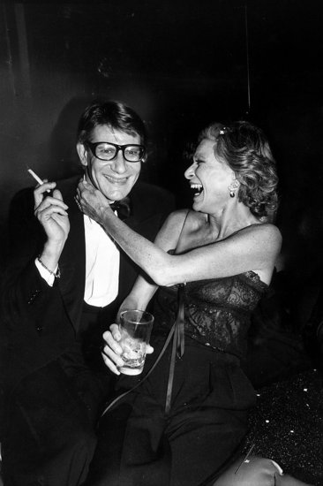 Glamorous nights out were par for the course, and this candid shot of Yves and socialite Nan Kempner at the launch of his new perfume Opium proves this point in spades.