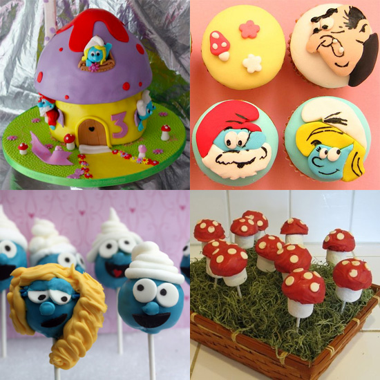 Smurfs Cake, Cupcakes, and Cake Pops
