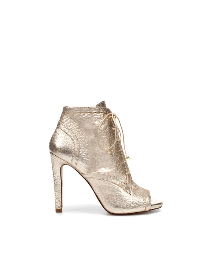 Shiny Peep Toe Ankle Boot, $159