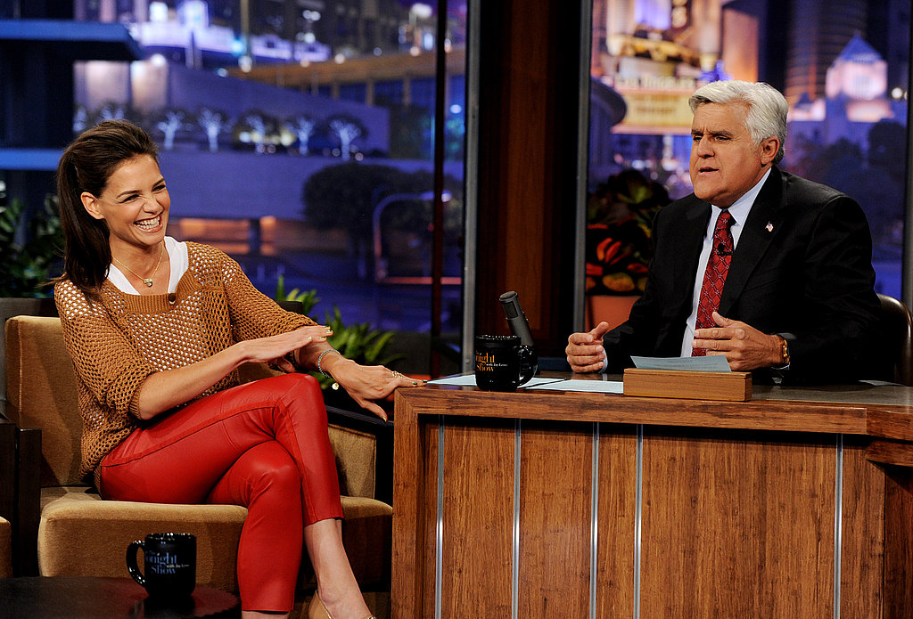 Katie Holmes talks with Jay Leno.
