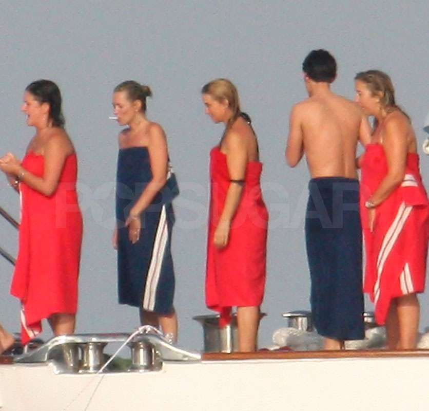 Kate Moss relaxed with friends.