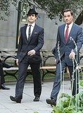 Matthew Bomer and costar Tim Dekay were spotted chatting between shots.