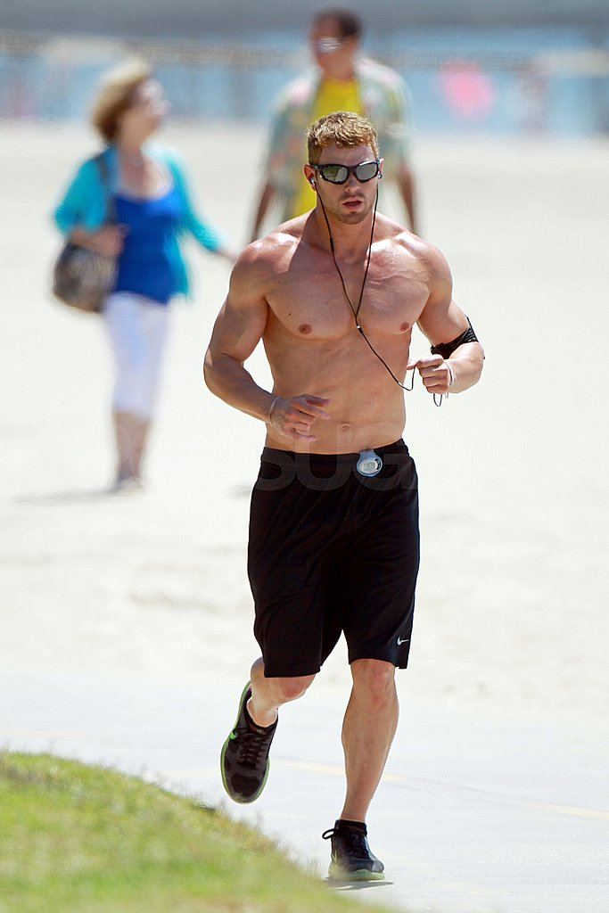 Kellan Lutz jogged shirtless in LA.