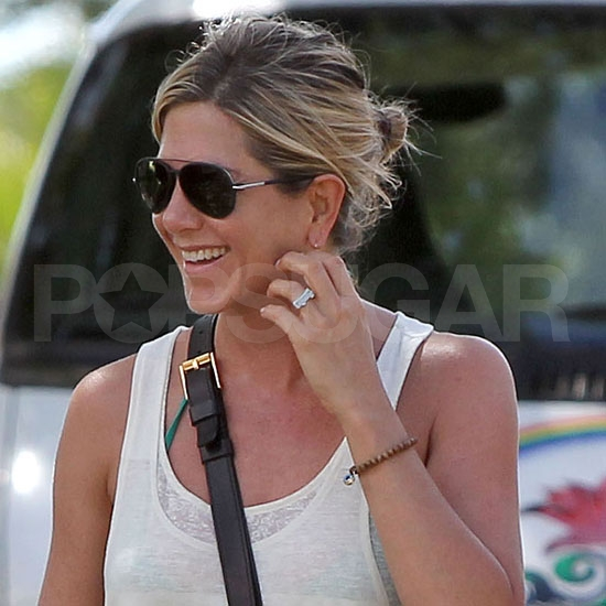 Jennifer Aniston with her personalized ring.