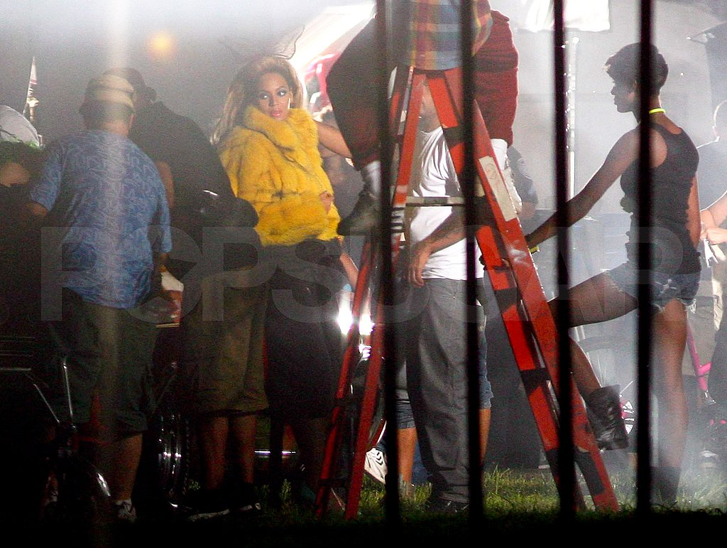 Beyoncé Knowles on set.