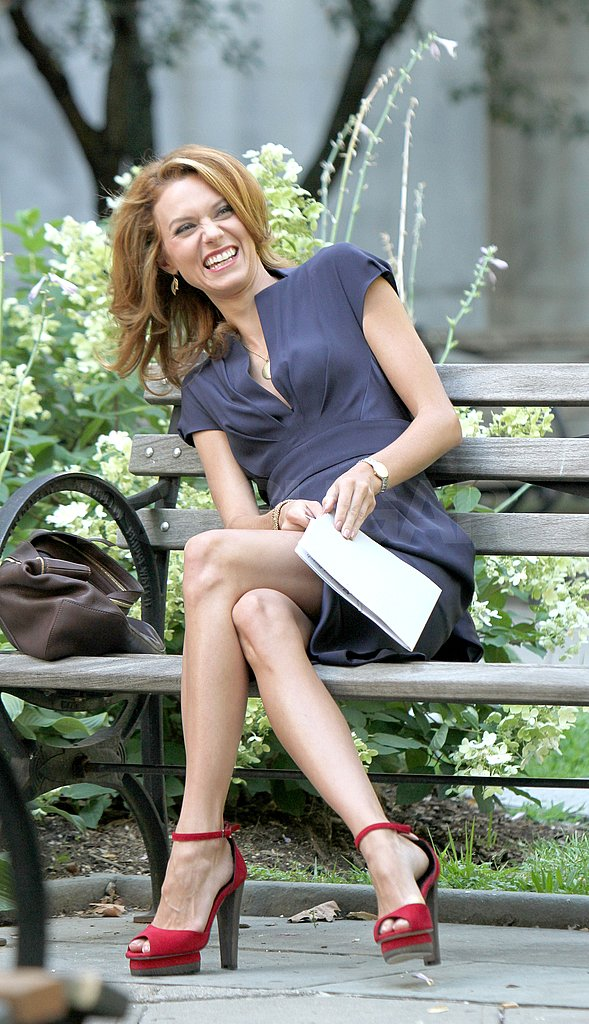 White Collar's Hilarie Burton joked around with the crew.