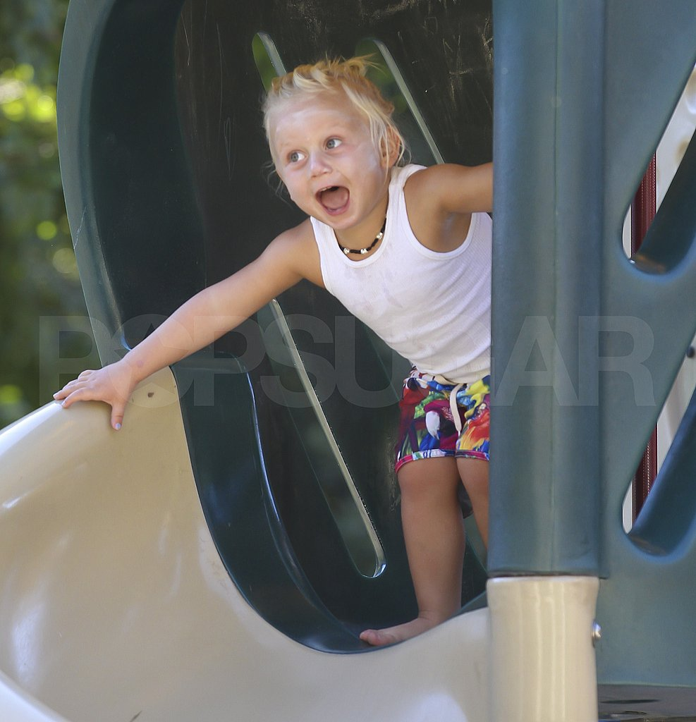 Zuma Rossdale played on the slide.