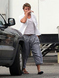 Zac sported some baggy pants.