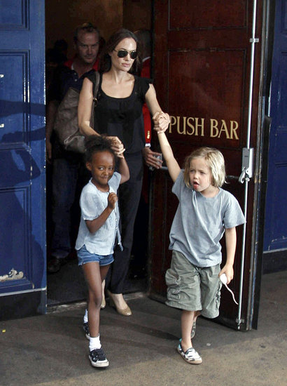 Angelina Takes Maddox, Pax, Shiloh, and Zahara to a Sunday Matinee of Shrek the Musical