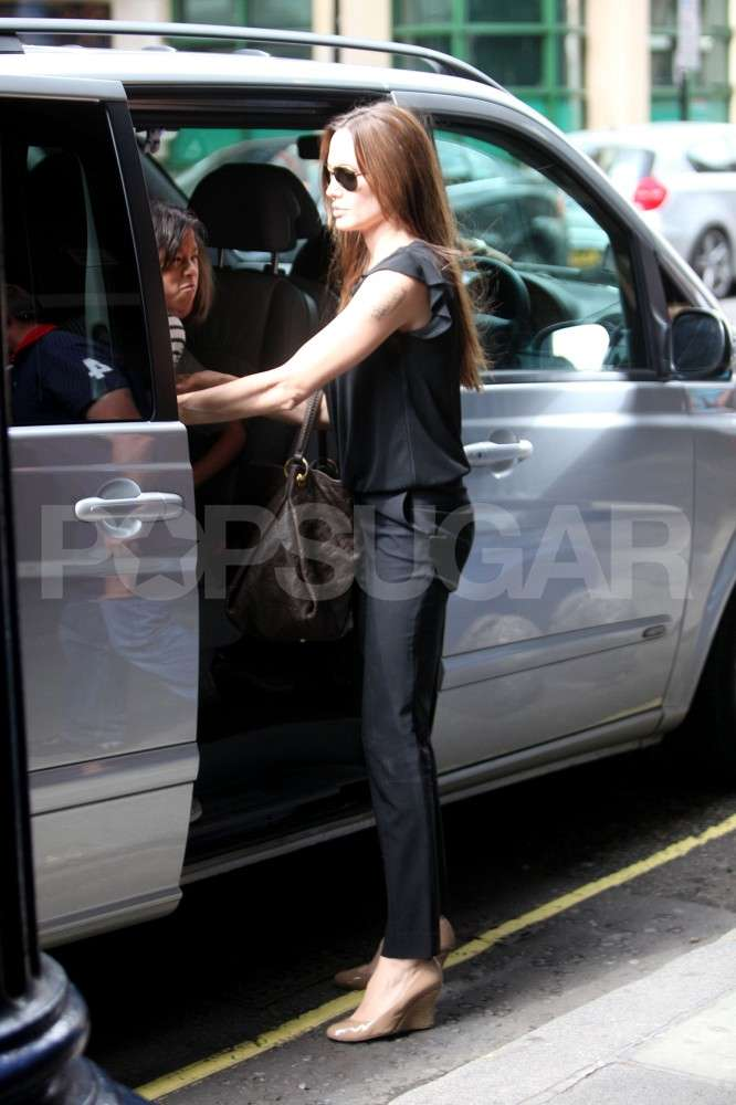 Angelina wore wedges.