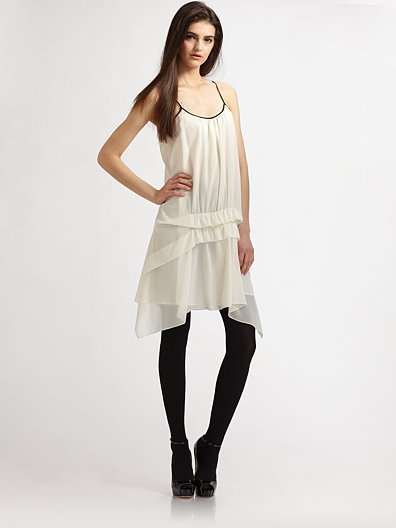 Theory Velima Silk Blend Ruffled Slip Dress, $315
