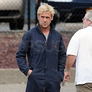 Ryan Gosling wearing Coveralls on the set of The Place Beyond the Pines