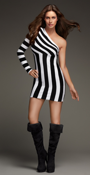 Women's Striped One Shoulder Knit Dress ($69, originally $99)