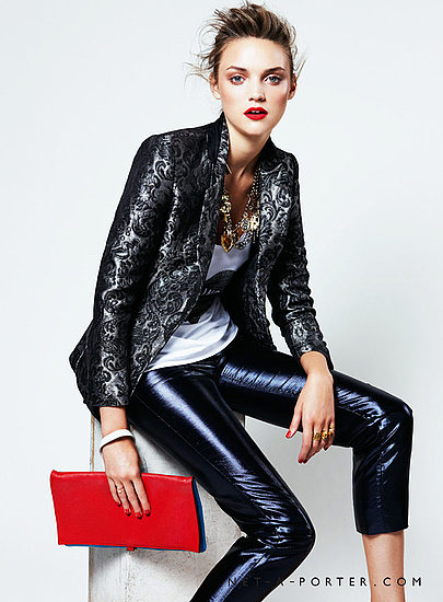 Instead of the plain black or camel blazer, mix up your look this Fall with a textural print in a metallic hue.