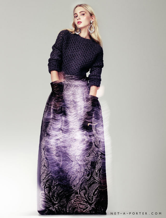 A statement maxi skirt paired with a cropped top is a good dress alternative.