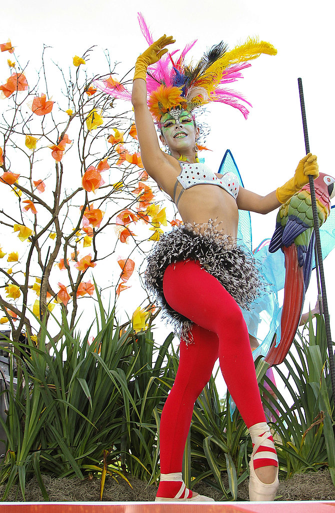 A dancer poses during the Feria De Flores (Flower Fair) festivities.