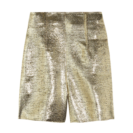 Lanvin High-Waisted Lamé Shorts, $1,565