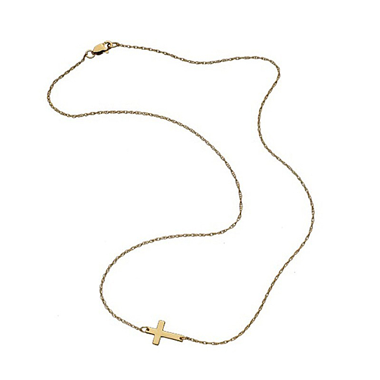 Jennifer Zeuner Mini Horizontal Cross Necklace, $121