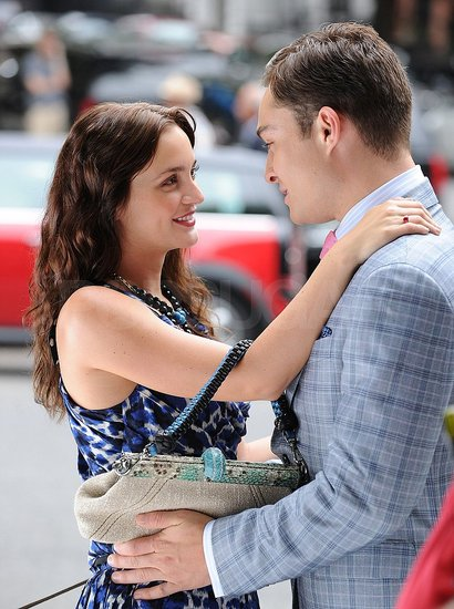 Leighton Meester and Ed Westwick Get Close on the Gossip Girl Set