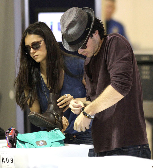 Ian Somerhalder heads home with Nina Dobrev.