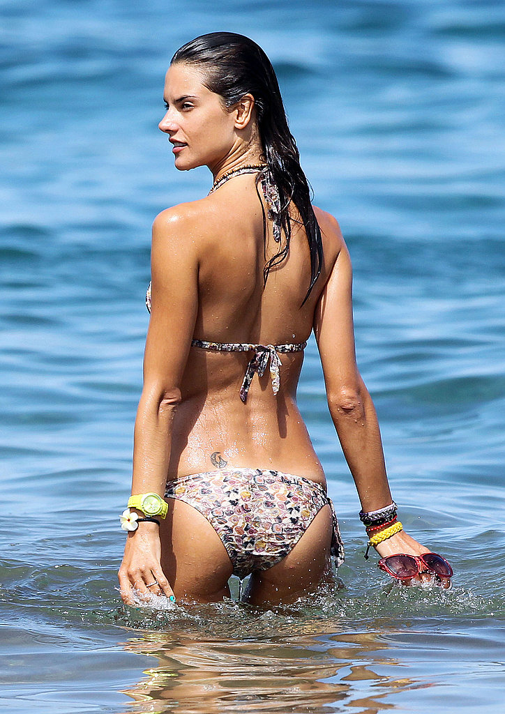 Alessandra Ambrosio swims.