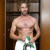 Gerard Butler stripped down before taking the field.