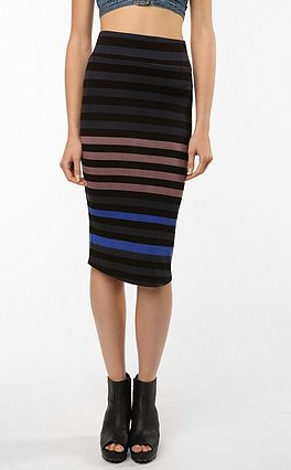 Bold stripes: A long and lean shape tempers a bold striped body-con skirt. Tone it down with a longer blouse and heels for an office appropriate look, or amp it up via a cropped top and open-toe booties for a rooftop soiree. BB Dakota Nikki Midi Bodycon Skirt ($69)