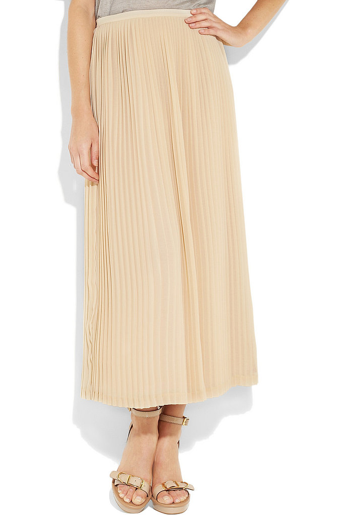 Neutral territory: Invest in a neutral-hued skirt for ultimate function. This pretty beige version can be worked and reworked with sandals, booties, blazers, sweaters — you get the drift. Sandro Jarod Pleated Chiffon Maxiskirt ($335)